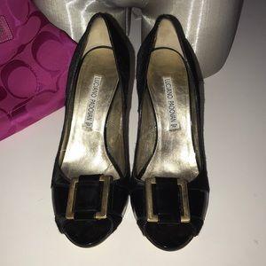 Designer Luciano padovan Black Heels Shoes